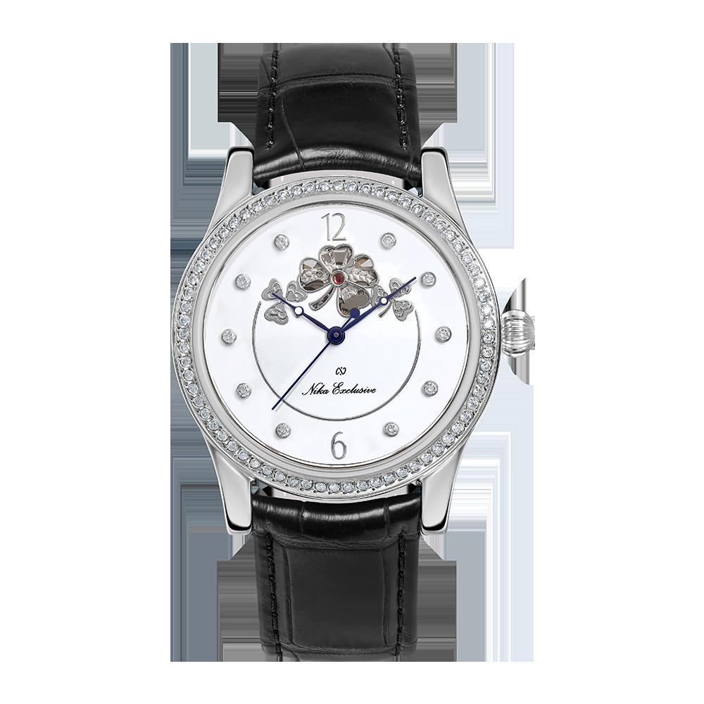 Серебряные женские часы НИКА с эмалью и фианитами