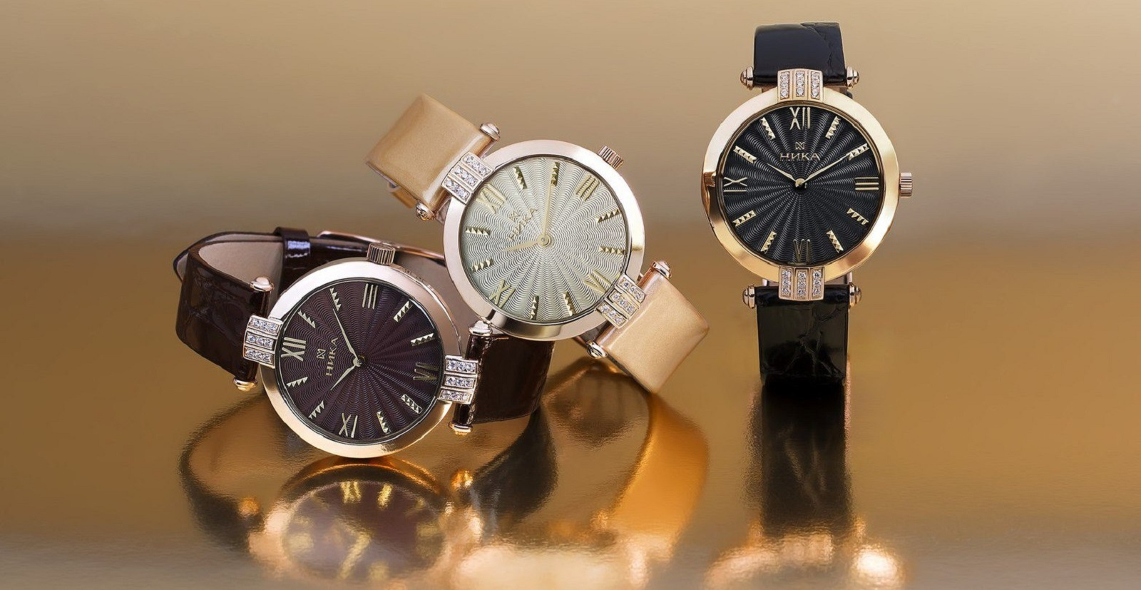 Золотые мужские механические часы